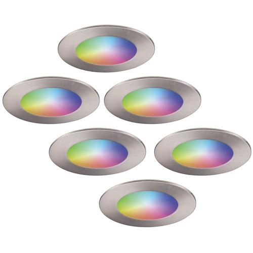 Homeylux Set of 6 smart WiFi LED recessed spotlights Aura RGBWW stainless steel IP44 1050lm