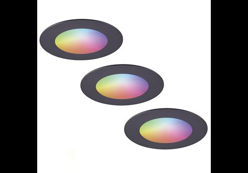 Homeylux Set of 3 smart WiFi LED recessed spotlights Aura RGBWW Black IP44 1050lm