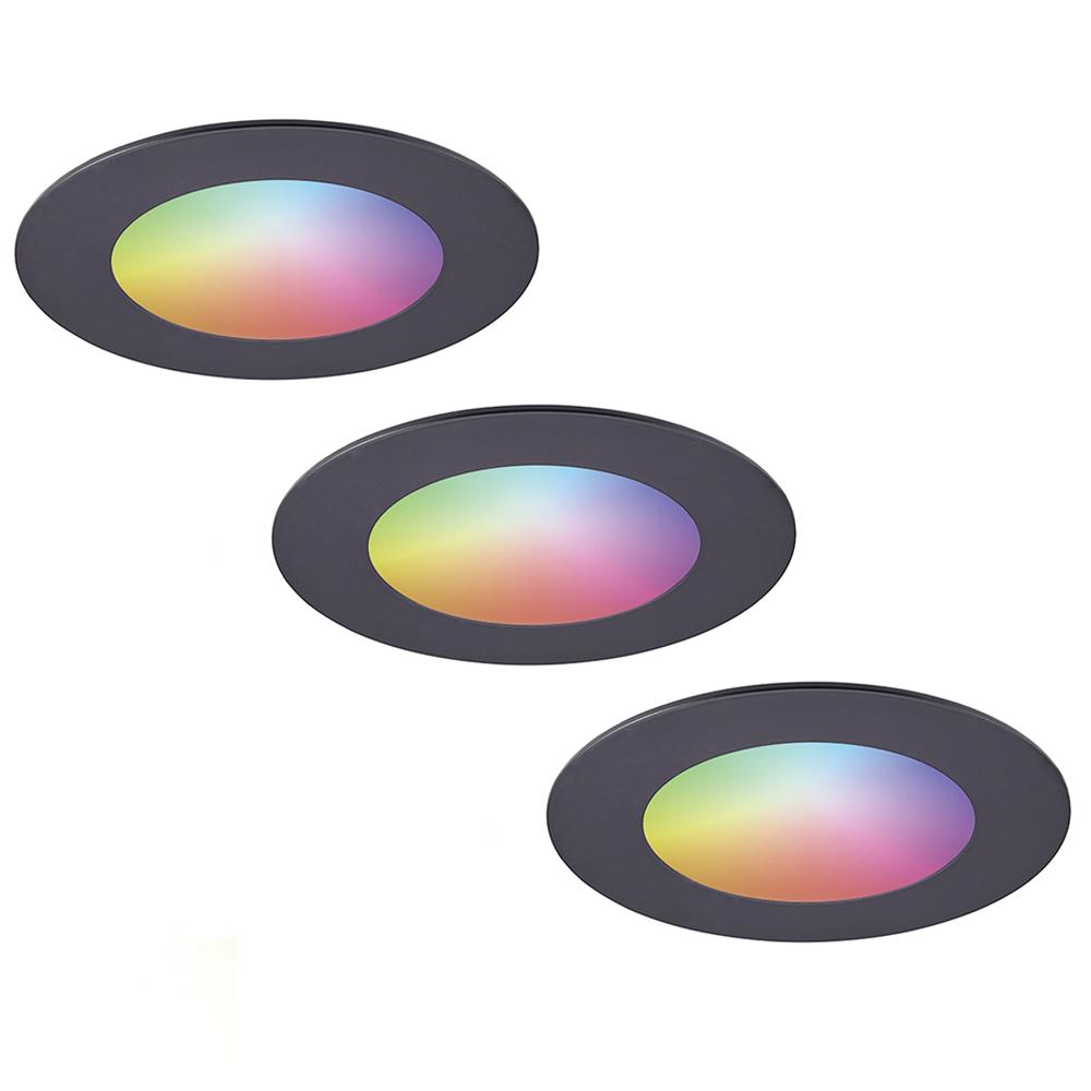 Set van 3 stuks smart WiFi LED inbouwspots Aura RGBWW Zwart IP44 1050lm