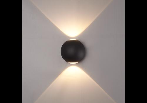 LED Wandleuchte 6 Watt Beidseitig leuchtend IP65 Schwarzer Globe