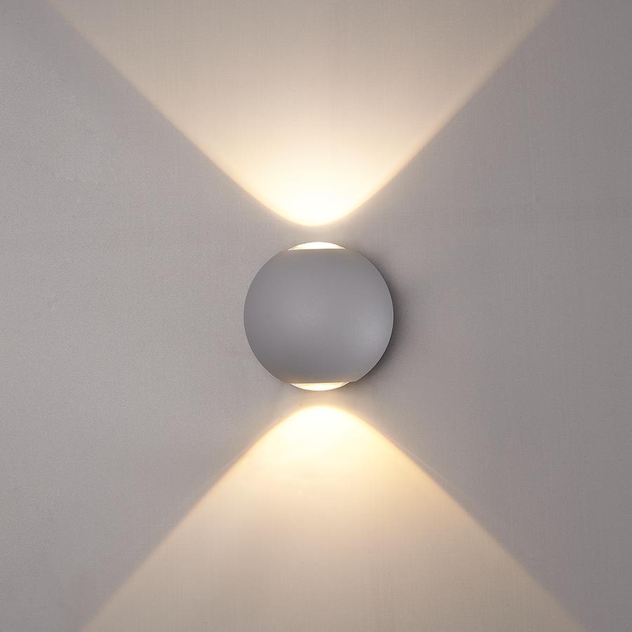 LED wandlamp 6 Watt 3000K tweezijdig oplichtend IP65 grijze Globe
