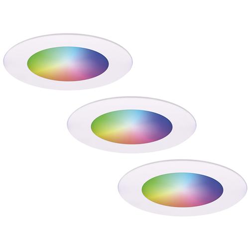 Homeylux Set van 3 stuks smart WiFi LED inbouwspots Aura RGBWW Wit IP44 1050lm