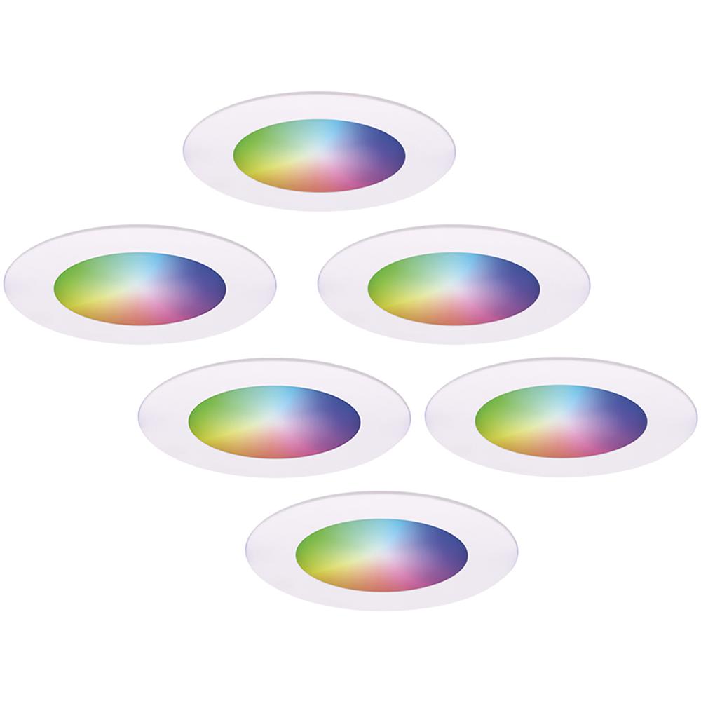 Set van 6 stuks smart WiFi LED inbouwspots Aura RGBWW Wit IP44 1050lm