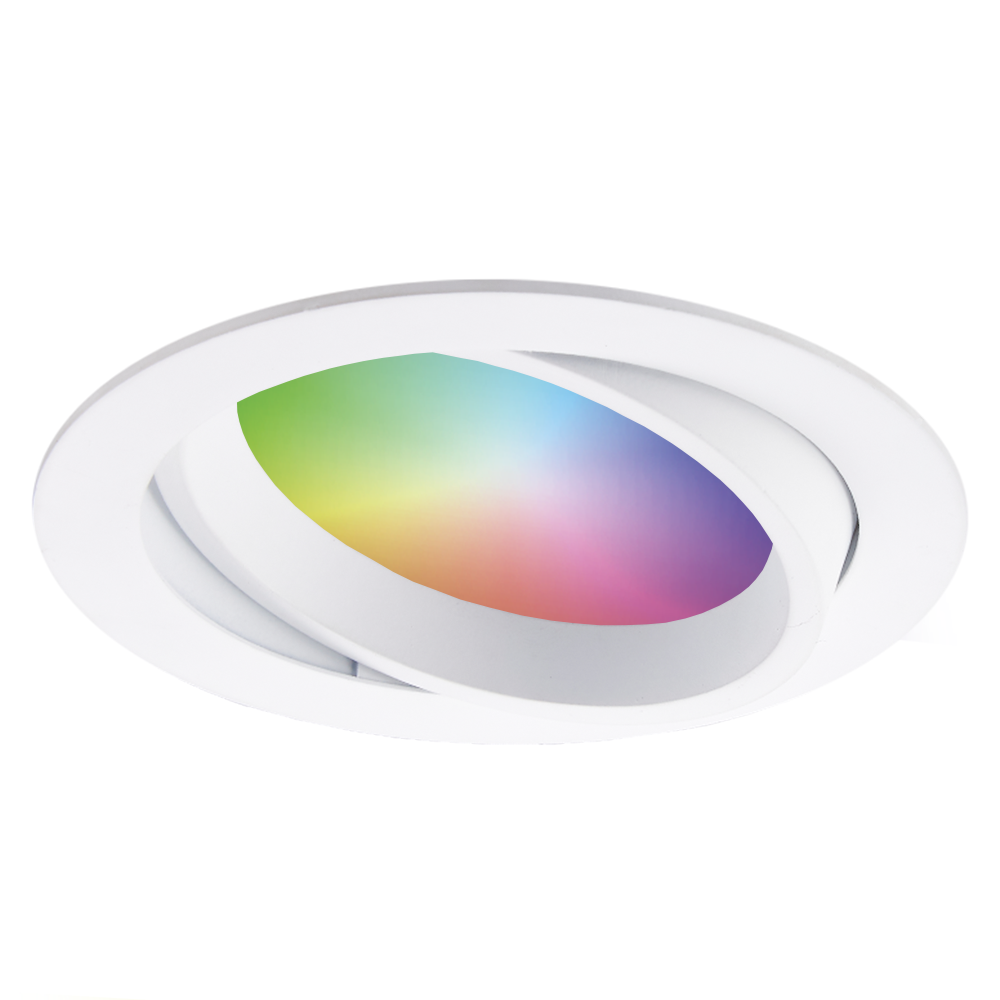 Smart WiFi LED inbouwspot Luna RGBWW kantelbaar wit IP44 1050lm