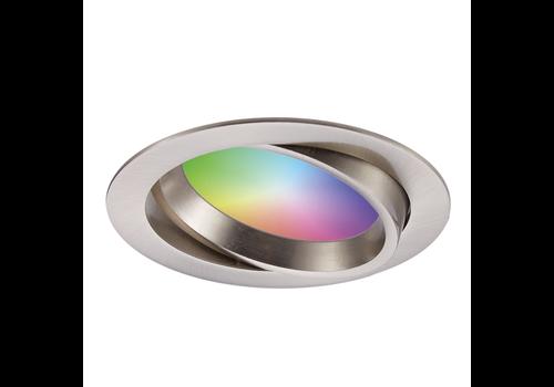 Homeylux Smart WiFi LED recessed spotlight Luna  RGBWW tiltable stainless steel IP44 1050lm