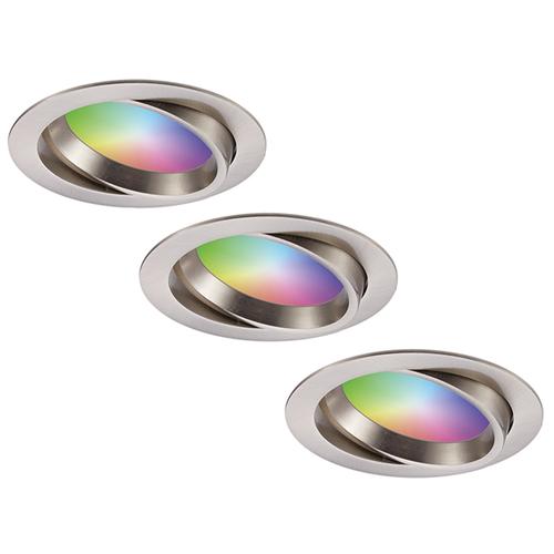 Homeylux Set of 3 smart WiFi LED recessed spotlights Luna RGBWW tiltable stainless steel IP44 1050lm