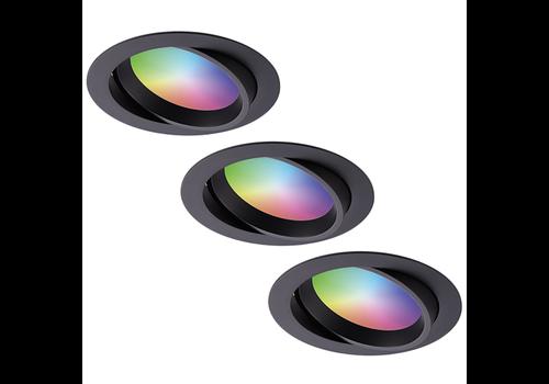Homeylux Set van 3 stuks smart WiFi LED inbouwspots Luna RGBWW kantelbaar Zwart IP44 1050lm
