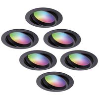 Set van 6 stuks smart WiFi LED inbouwspots Luna RGBWW kantelbaar Zwart IP44 1050lm