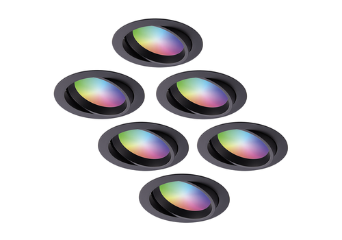 Homeylux Set of 6 smart WiFi LED recessed spotlights Luna RGBWW tiltable Black IP44 1050lm