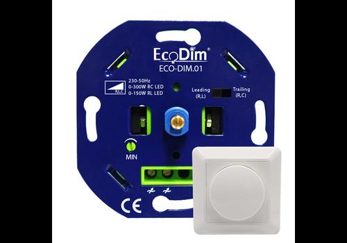 Ecodim LED Dimmer 0-300 Watt  Phasen an und abschnitt  Inkl. Blendrahmen und Knopf