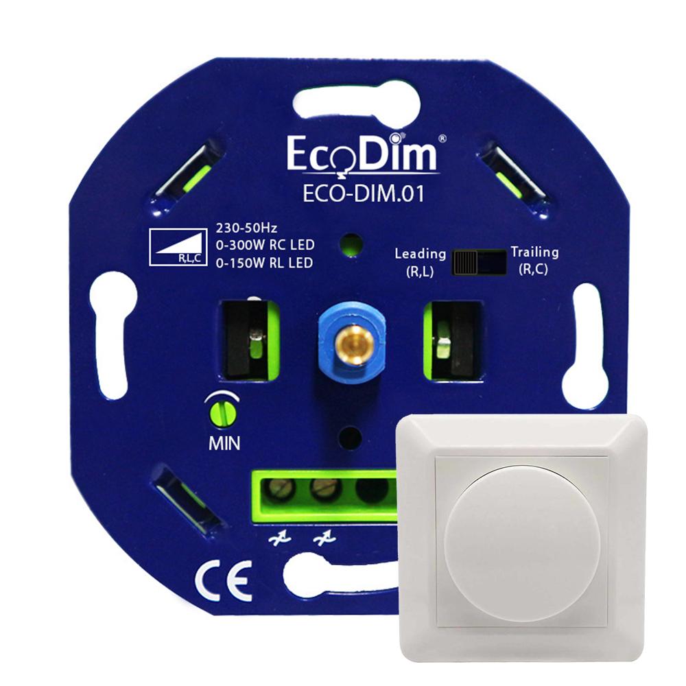 LED dimmer 0-300 Watt Fase aan- en afsnijding incl. afdekraampje en draaiknop ECO-DIM.01