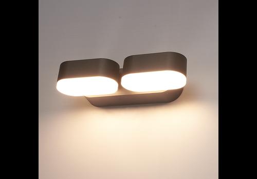 V-TAC LED wandlamp kantelbaar in de kleur zwart 12 Watt 3000K IP65 waterdicht