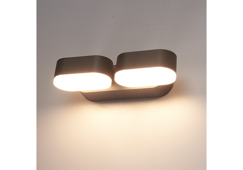 V-TAC LED Wandleuchte Kippbar Farbe Schwarz 12 Watt 3000K IP65 Wasserdicht