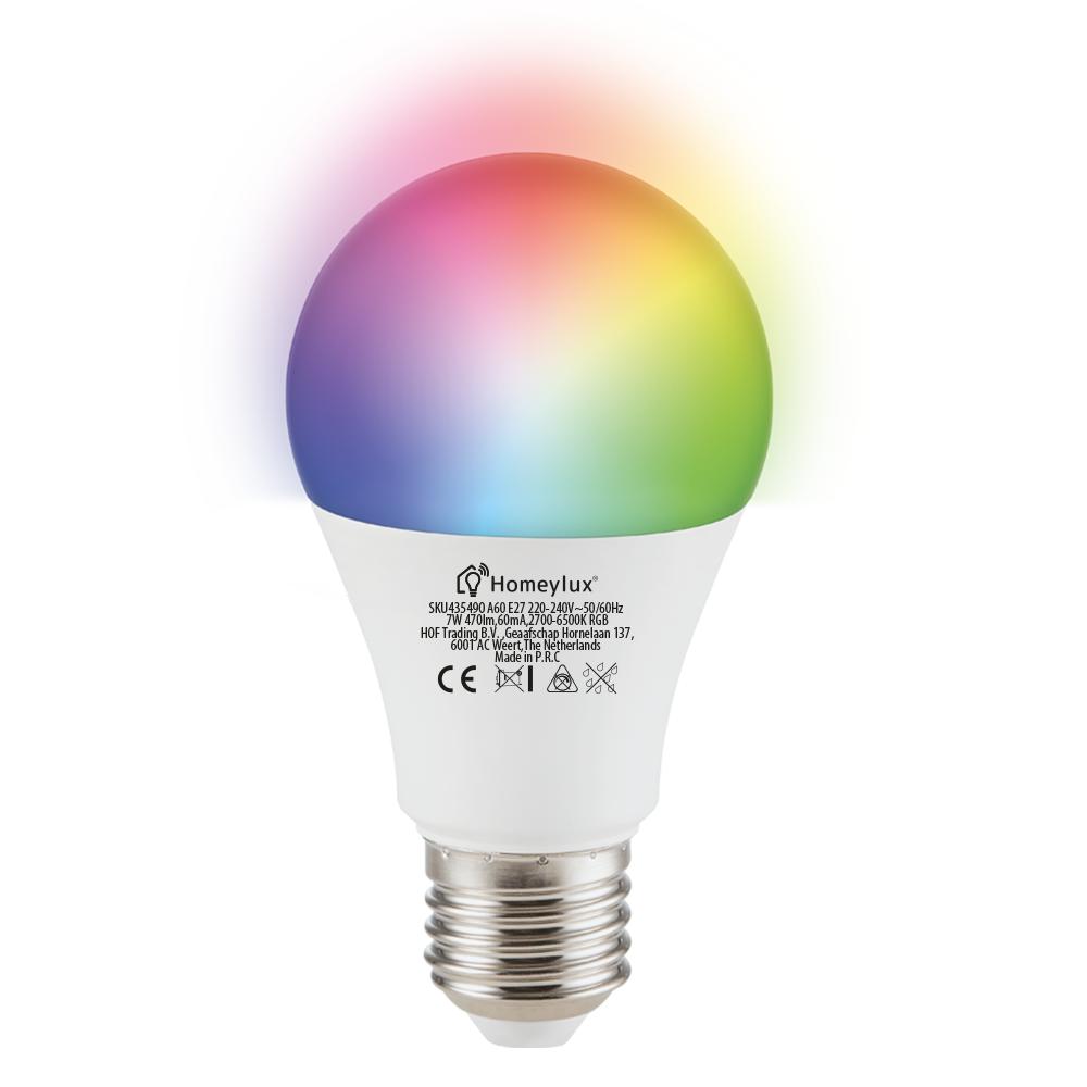 E27 SMART LED Lamp RGBWW Wifi 7 Watt 470lm Dimbaar