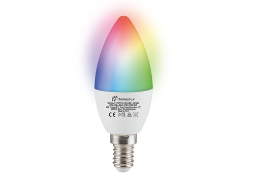 Homeylux E14 SMART LED Bulb RGBWW Wifi 5.5 Watt 470lm C37 Dimmable