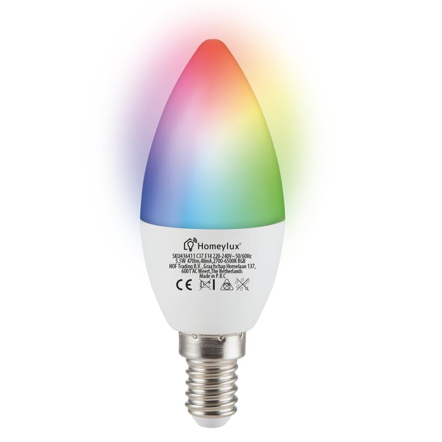 E14 SMART LED Lamp RGBWW Wifi 5.5 Watt 470lm C37 Dimbaar
