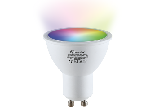 Homeylux GU10 SMART LED RGBWW Wifi 5.5 Watt 400lm 120° Dimbaar