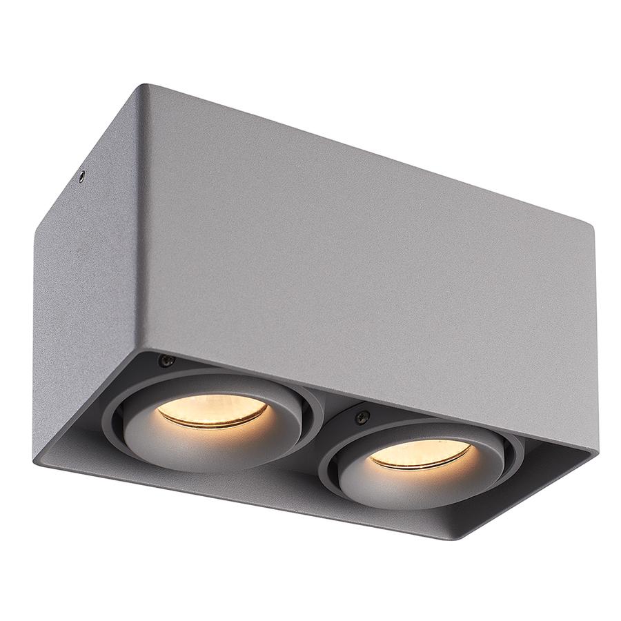 Dimbare LED opbouw plafondspot Esto Grijs 2 lichts kantelbaar incl. 2x GU10 spot 5W 2700K