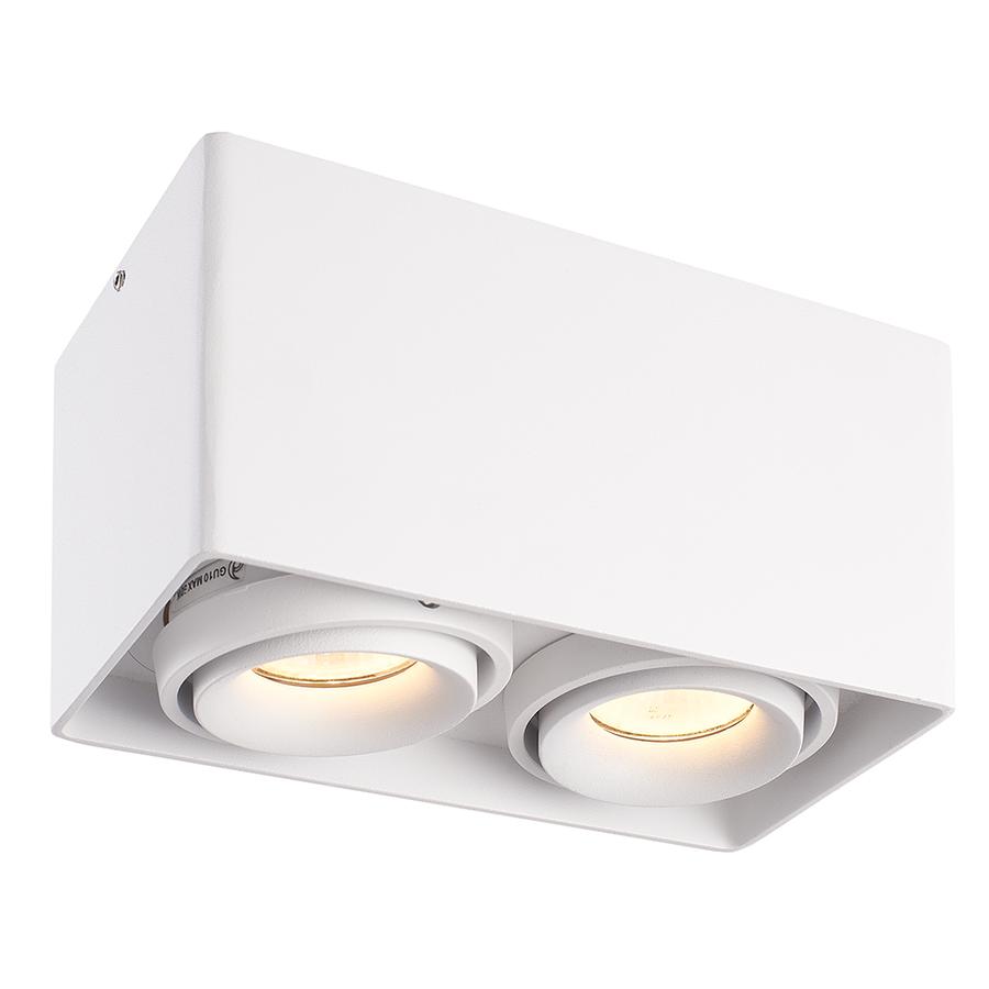 Dimmbare LED Deckenanbaustrahler Esto 2 Lichter 3000K GU10 Weiß IP20 Kippbar