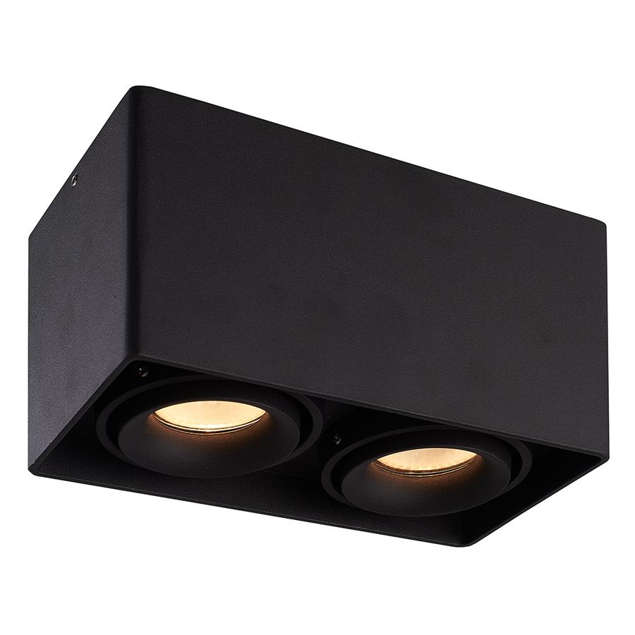 Dimbare LED opbouw plafondspot Esto Zwart 2 lichts kantelbaar incl. 2x GU10 spot 5W 3000K