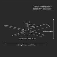Plafondventilator staal met afstandsbediening 60 Watt LED