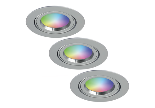 Homeylux Set of 3 smart WiFi LED recessed spotlight Jose RGBWW tiltable stainless steel IP20