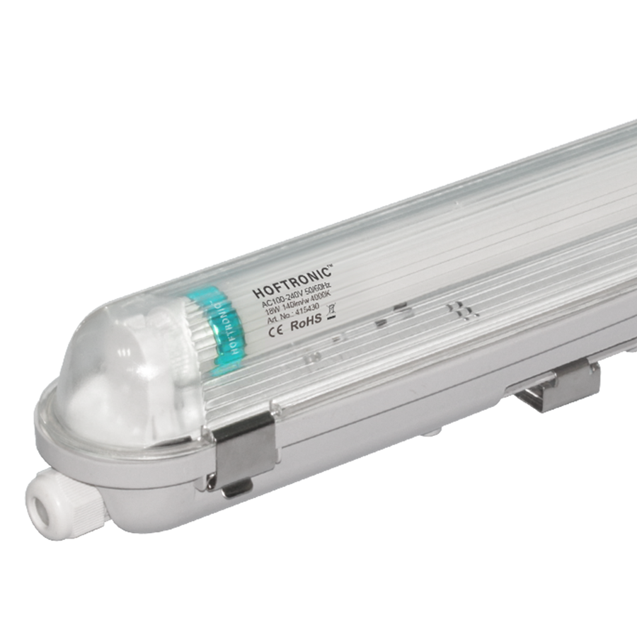 10x LED T8 fixture IP65 120 cm 4000K 18W 2520lm 140lm/W Flicker Free linkable
