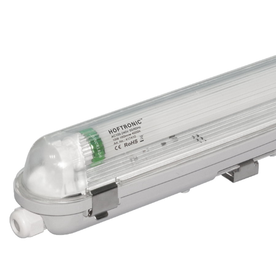 LED T8 fixture IP65 120 cm 4000K 18W 2880lm 160lm/W Flicker Free linkable
