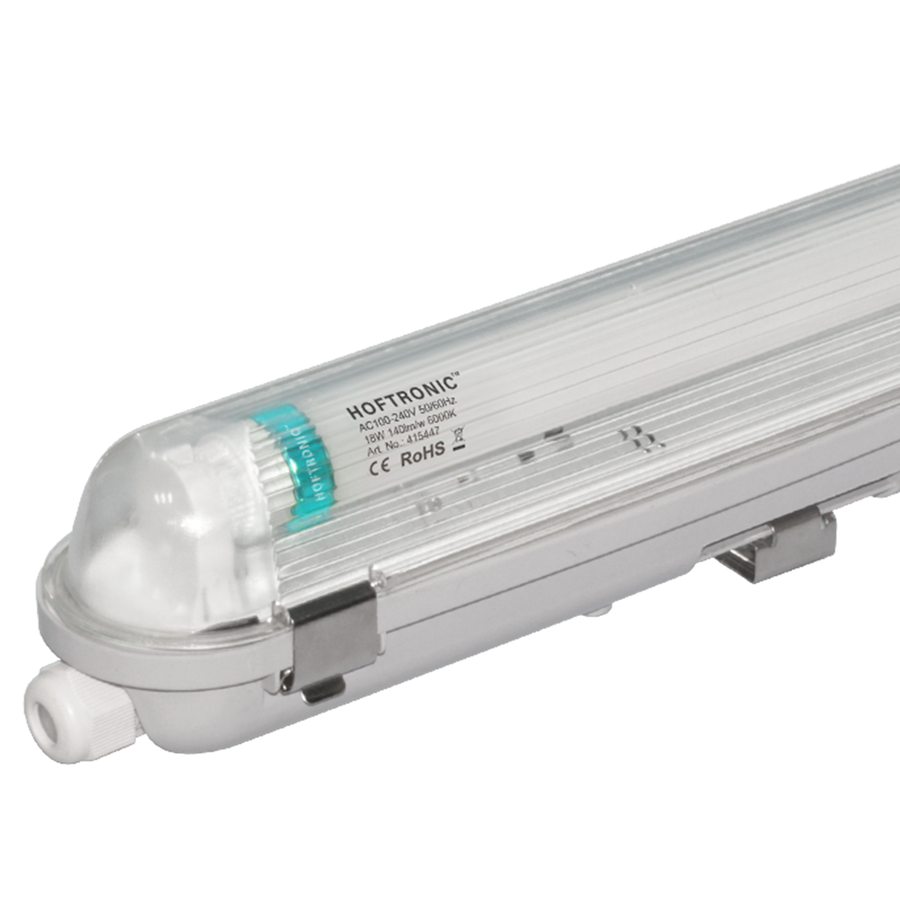 LED T8 fixture IP65 120 cm 6000K 18W 2520lm 140lm/W Flicker Free linkable