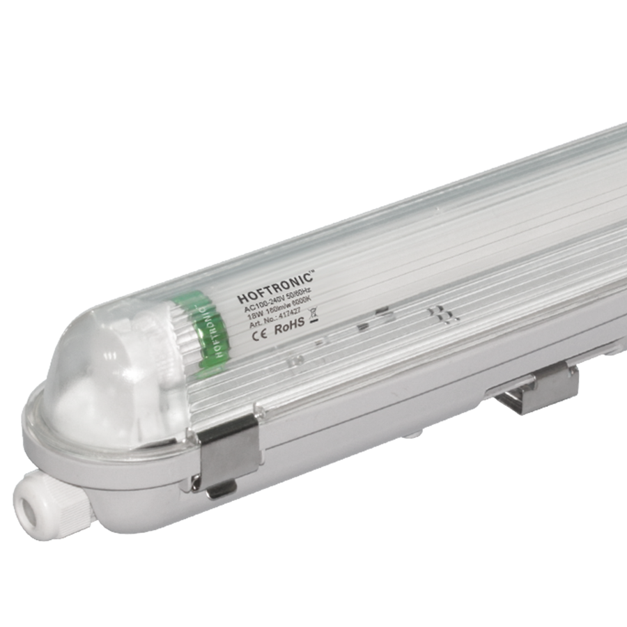 LED T8 fixture IP65 120 cm 6000K 18W 2880lm 160lm/W Flicker Free linkable