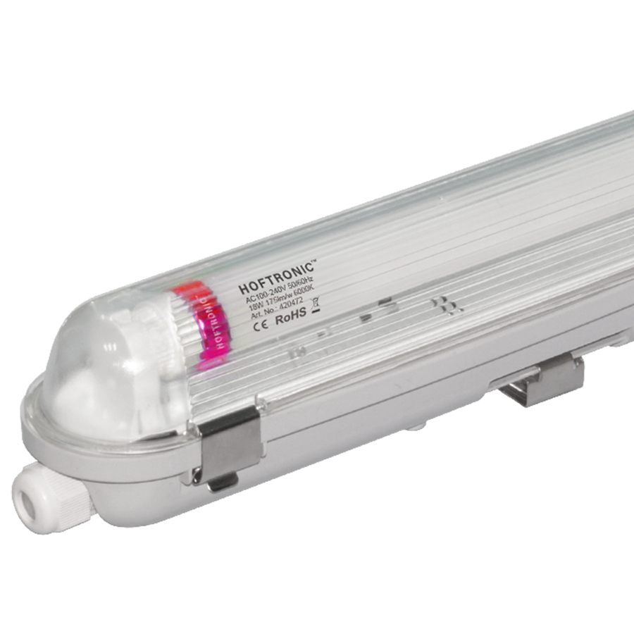 10x LED T8 fixture IP65 120 cm 6000K 18W 3150lm 175lm/W Flicker Free linkable