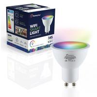 Set van 6 GU10 38° SMART LED Lampen RGBWW Wifi 5.5 Watt 345lm Dimbaar