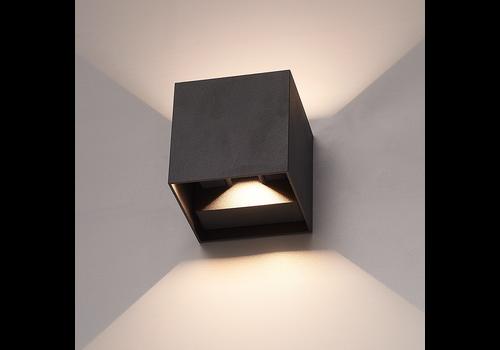 HOFTRONIC™ Set van 3 Dimbare LED Wandlamp Kansas zwart 6 Watt 3000K tweezijdig oplichtend IP54