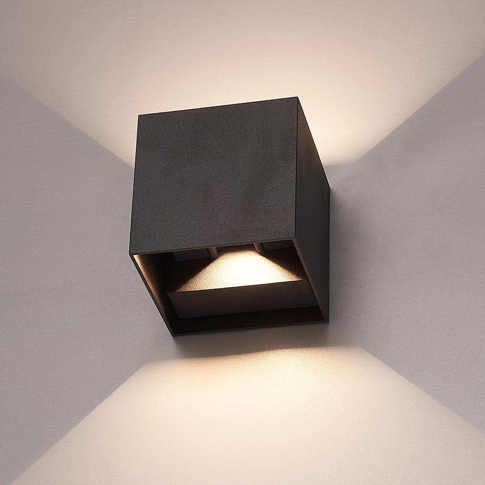 Set van 3 Dimbare LED Wandlamp Kansas zwart 6 Watt 3000K Up & Down light IP65