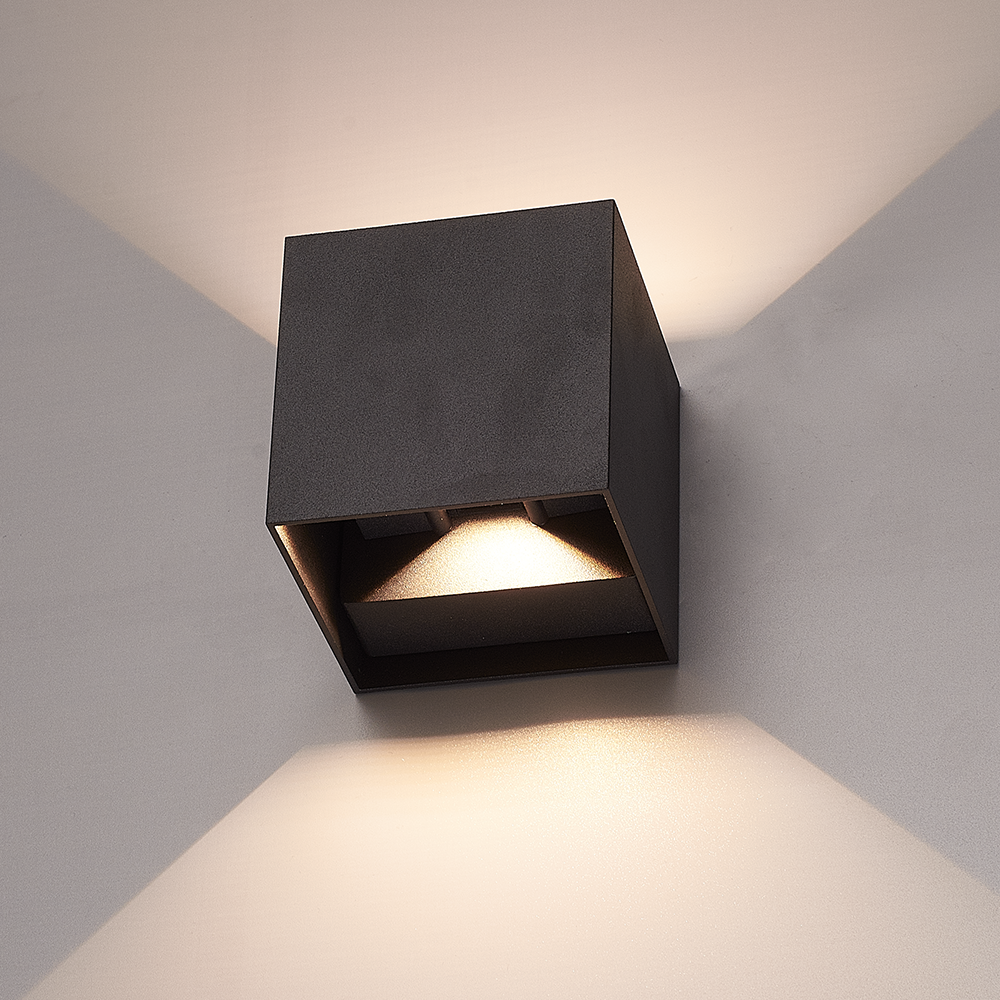 Set van 6 Dimbare LED Wandlamp Kansas zwart 6 Watt 3000K Up & Down light IP65