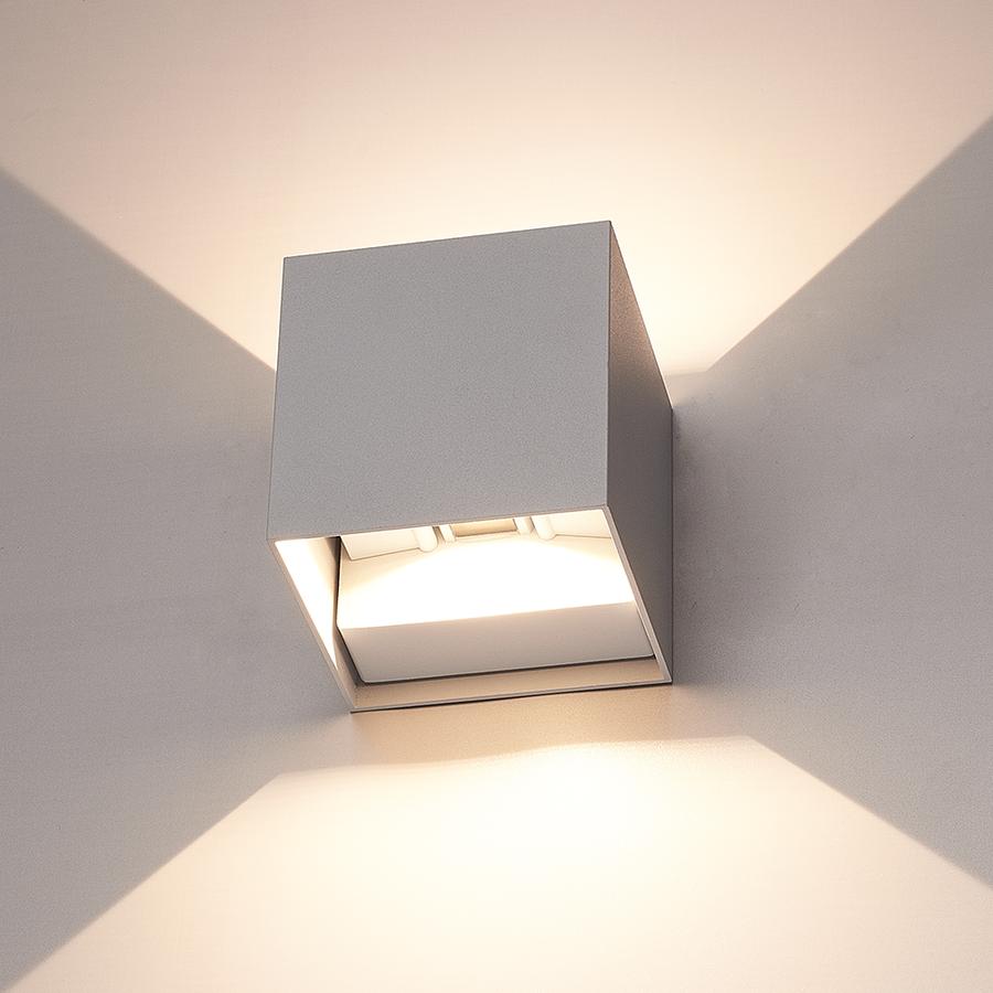 Set van 6 Dimbare LED Wandlamp Kansas grijs 6 Watt 3000K tweezijdig oplichtend IP54