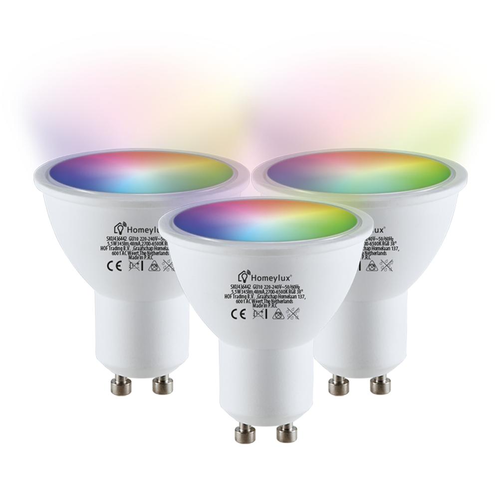 Set van 3 GU10 38° SMART LED Lampen RGBWW Wifi 5.5 Watt 345lm Dimbaar