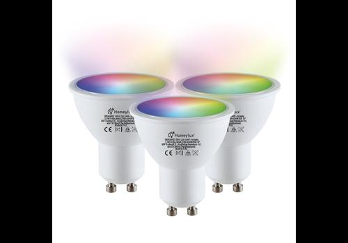 Homeylux Set van 3 GU10 120° SMART LED Lampen RGBWW Wifi 5.5 Watt 400lm Dimbaar