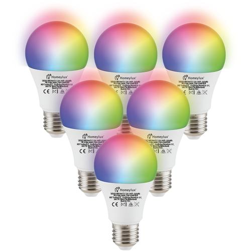 Homeylux Set van 6 E27 SMART LED Lampen RGBWW Wifi 7 Watt 470lm Dimbaar
