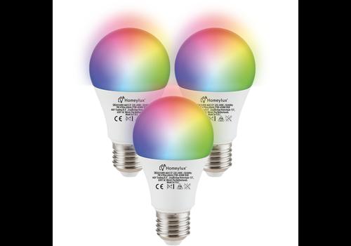 Homeylux Set of 3 E27 SMART LED Bulbs RGBWW Wifi 7 Watt 470lm Dimmable