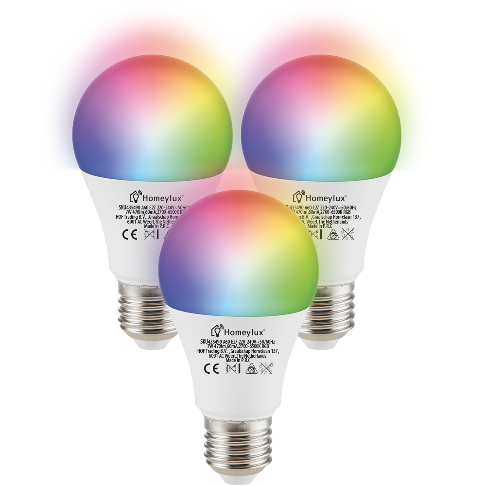 Set van 3 E27 SMART LED Lampen RGBWW Wifi 7 Watt 470lm Dimbaar