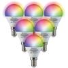 Homeylux Set van 6 E14 SMART LED Lampen RGBWW Wifi 5.5 Watt 470lm IP45 Dimbaar