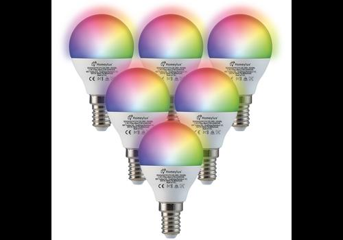 Homeylux Satz von 6 E14 SMART LED Lampen RGBWW Wifi 5,5 Watt 470lm P45 Dimmbar