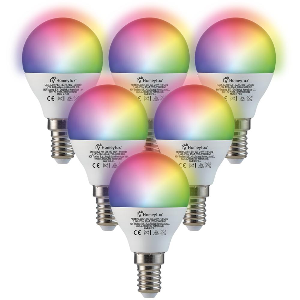 Set van 6 E14 SMART LED Lampen RGBWW Wifi 5.5 Watt 470lm P45 Dimbaar
