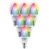 Homeylux Set van 6 E14 SMART LED Lampen RGBWW Wifi 5.5 Watt 470lm C37 Dimbaar