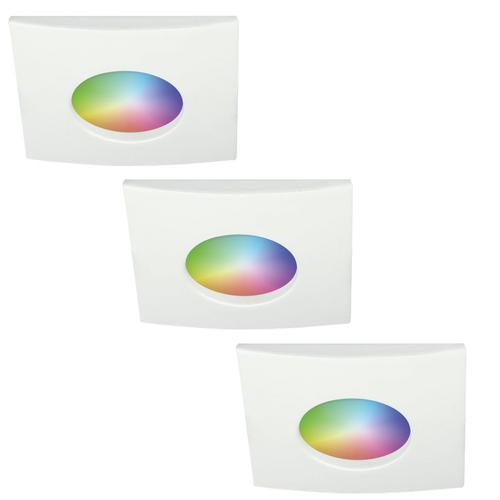 Homeylux Set van 3 stuks smart WiFi RGBWW LED inbouwspots Garland 5,5 Watt IP44