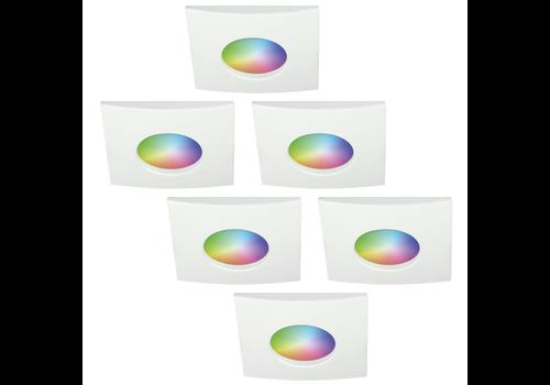 Homeylux Set van 6 stuks smart WiFi RGBWW LED inbouwspots Garland 5,5 Watt IP44