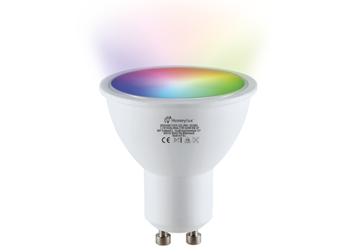 Homeylux GU10 SMART LED RGBWW Wifi 5.5 Watt 345lm 38° Dimbaar