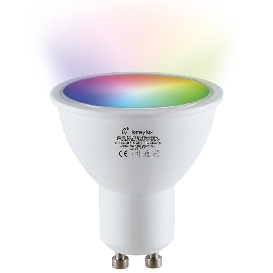 GU10 SMART LED RGBWW Wifi 5.5 Watt 345lm 38° Dimbaar