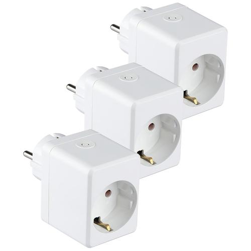 V-TAC Set of 3 white smart plug with USB port